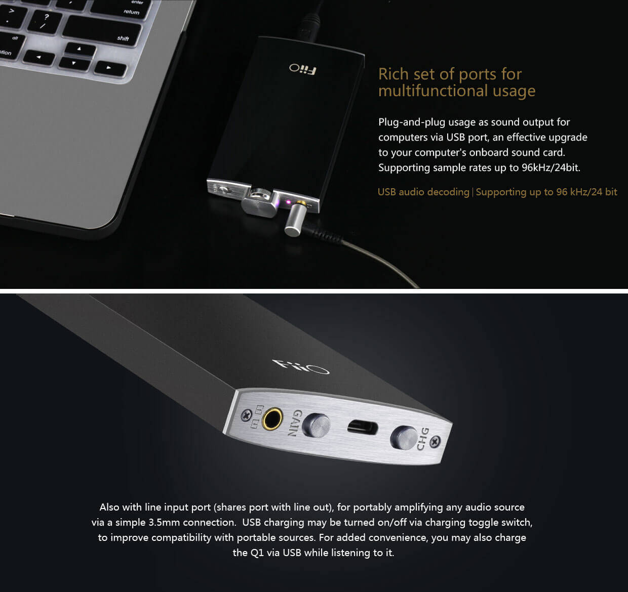 Fiio q1 portable headphone usb dac